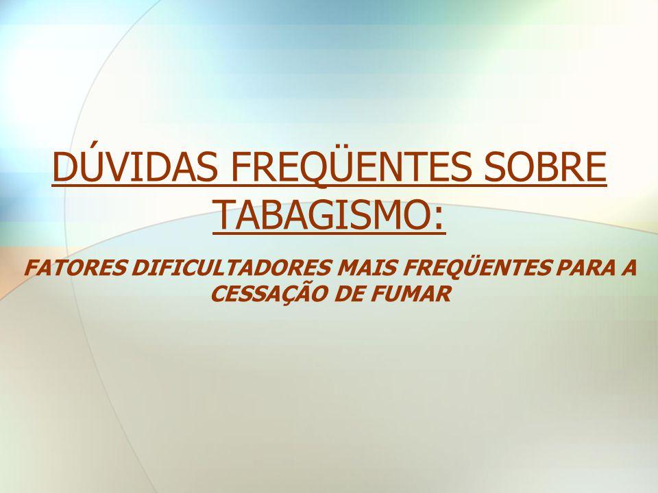DÚVIDAS FREQÜENTES SOBRE TABAGISMO: