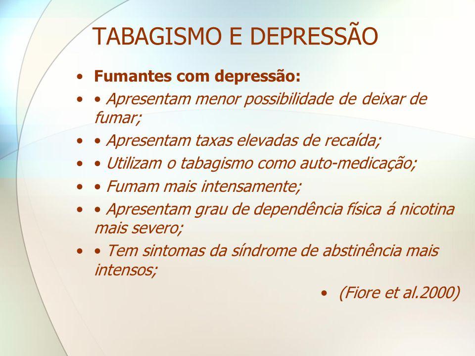 TABAGISMO E DEPRESSÃO Fumantes com depressão:
