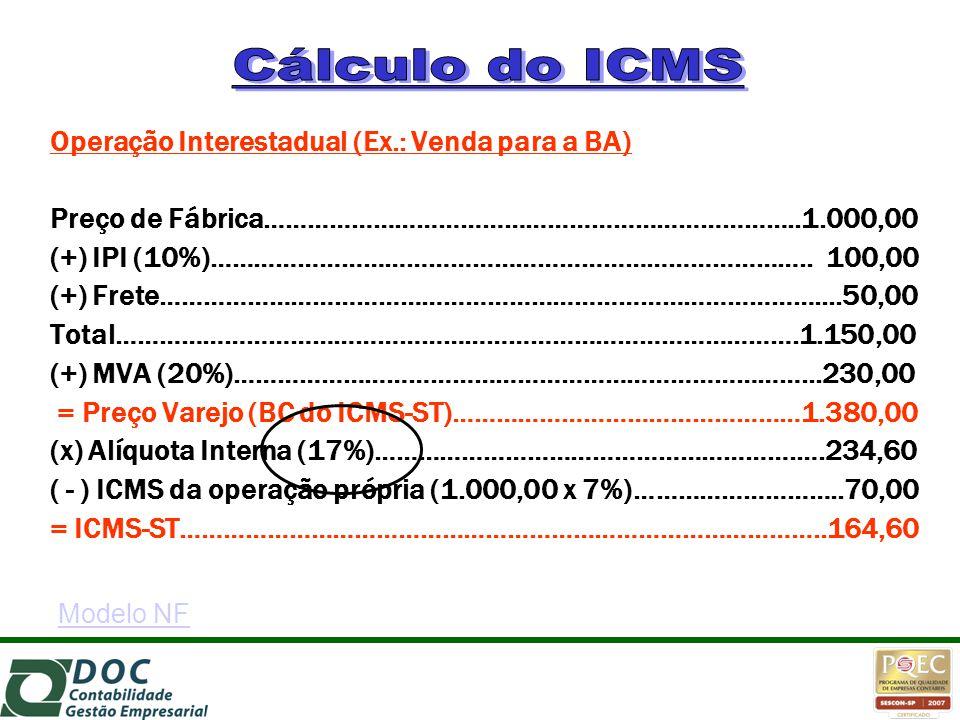 Cálculo do ICMS Operação Interestadual (Ex.: Venda para a BA)