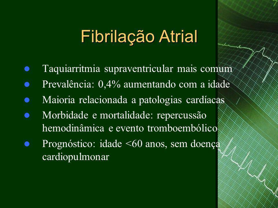 Fibrilação Atrial Taquiarritmia supraventricular mais comum