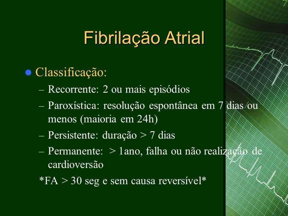 Fibrilação Atrial Classificação: Recorrente: 2 ou mais episódios