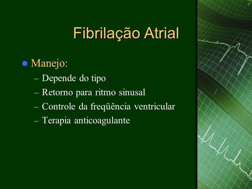 Fibrilação Atrial Manejo: Depende do tipo Retorno para ritmo sinusal