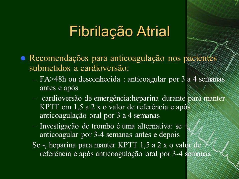 Fibrilação Atrial Recomendações para anticoagulação nos pacientes submetidos a cardioversão: