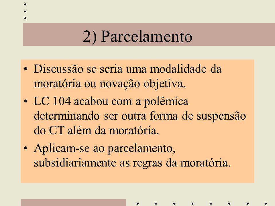 2) Parcelamento Discussão se seria uma modalidade da moratória ou novação objetiva.
