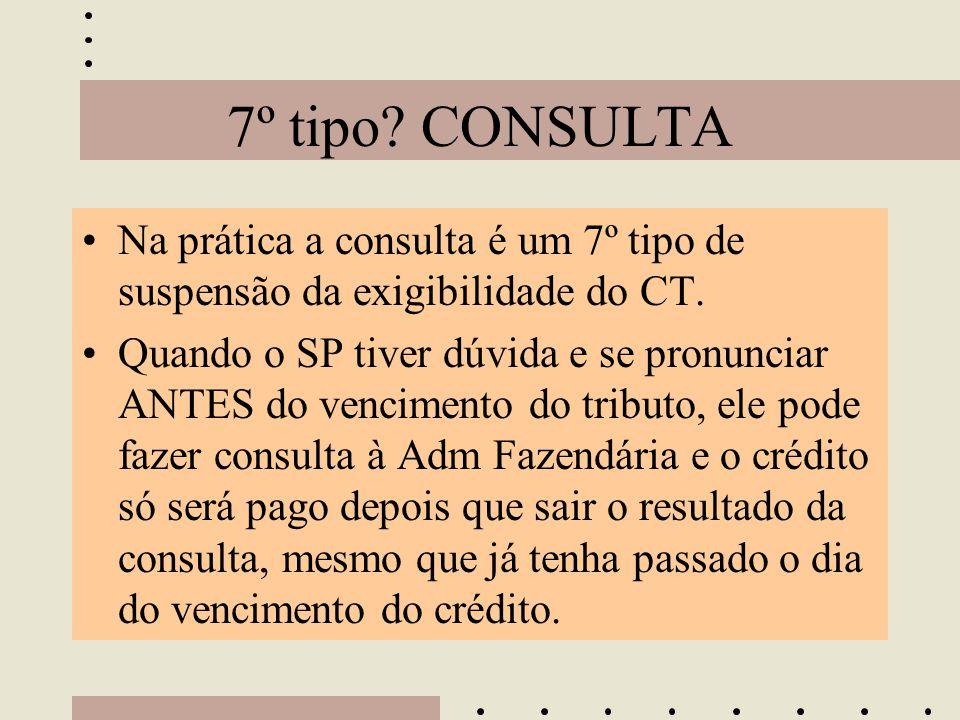 7º tipo CONSULTA Na prática a consulta é um 7º tipo de suspensão da exigibilidade do CT.