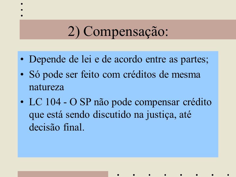 2) Compensação: Depende de lei e de acordo entre as partes;