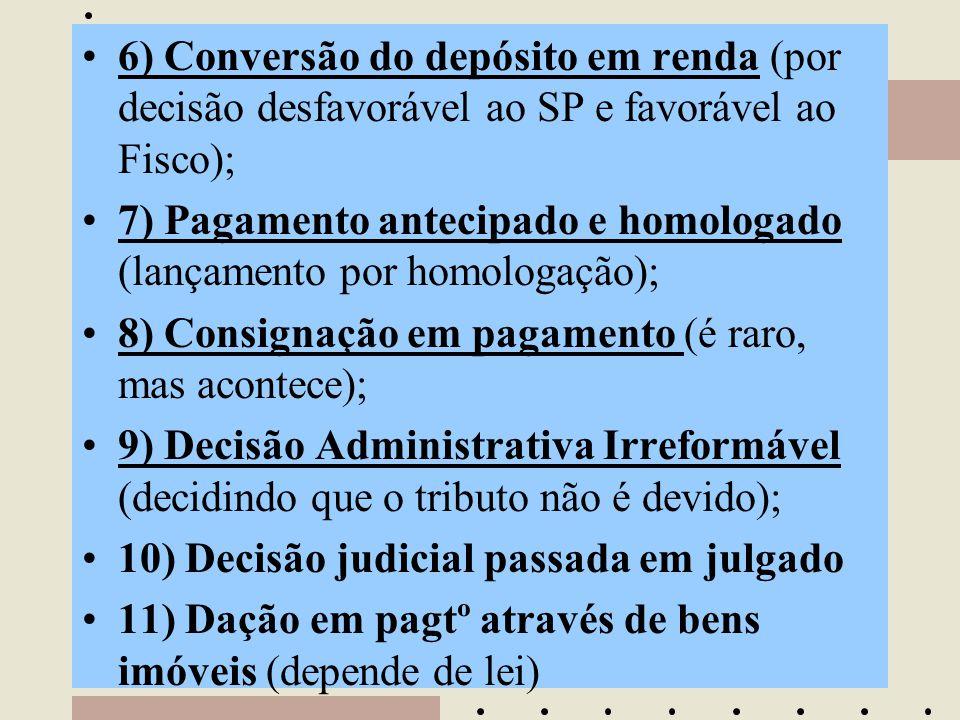 6) Conversão do depósito em renda (por decisão desfavorável ao SP e favorável ao Fisco);