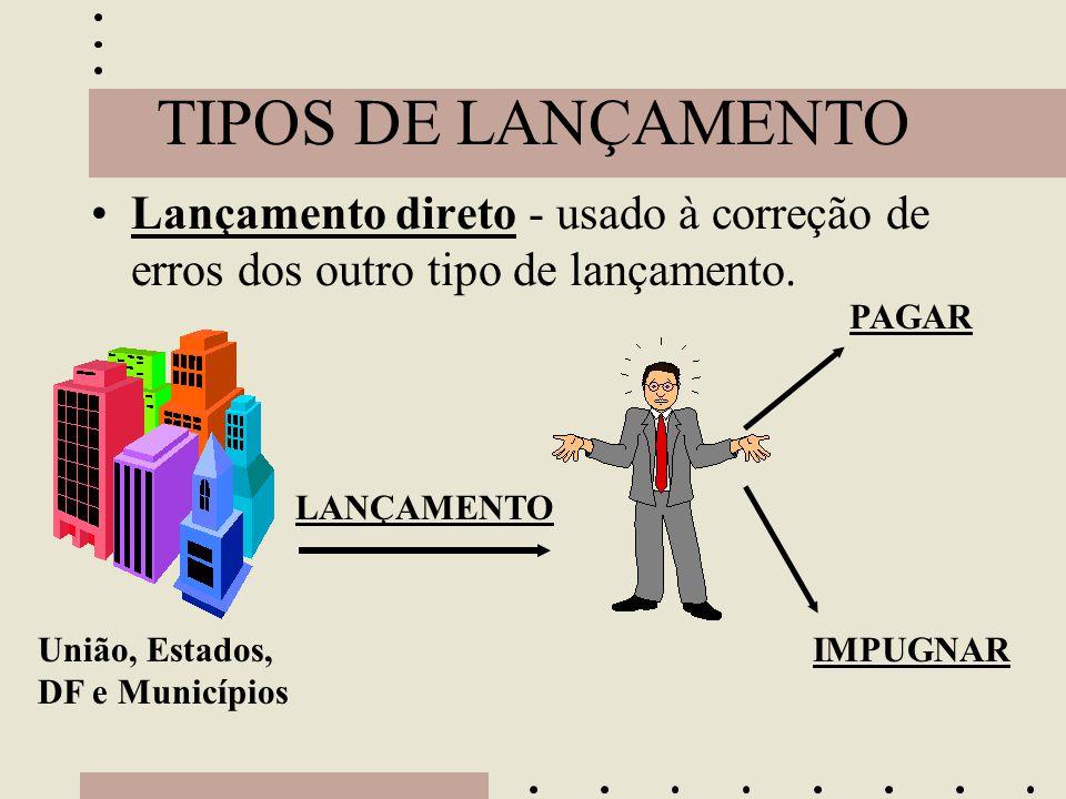 TIPOS DE LANÇAMENTO Lançamento direto - usado à correção de erros dos outro tipo de lançamento. PAGAR.