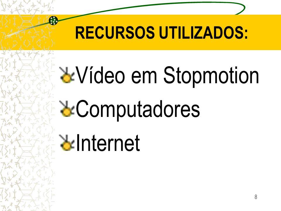 RECURSOS UTILIZADOS: Vídeo em Stopmotion Computadores Internet