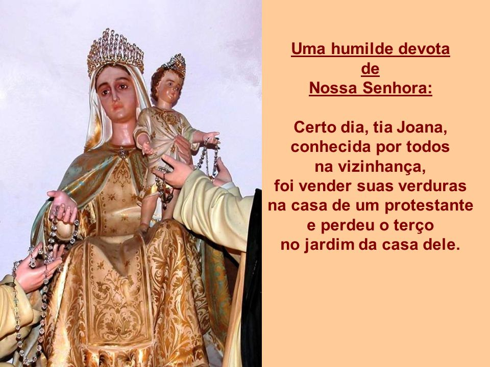 Uma humilde devota de Nossa Senhora: Certo dia, tia Joana, conhecida por todos na vizinhança, foi vender suas verduras na casa de um protestante e perdeu o terço no jardim da casa dele.
