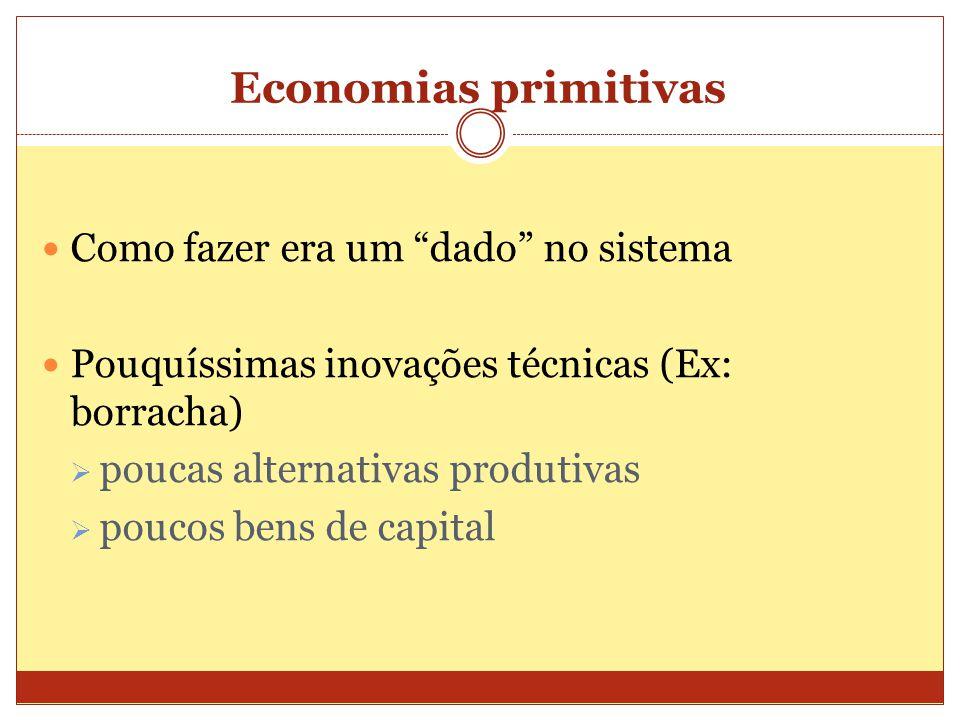 Economias primitivas Como fazer era um dado no sistema