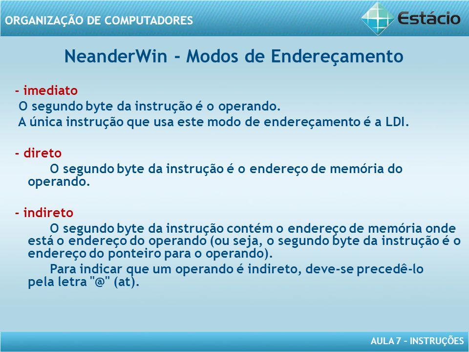 NeanderWin - Modos de Endereçamento
