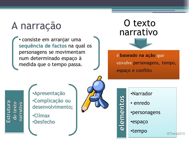 A narração O texto narrativo elementos