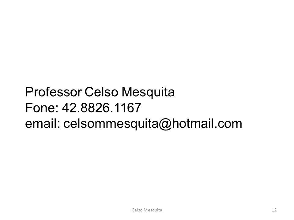 Professor Celso Mesquita Fone: 42. 8826