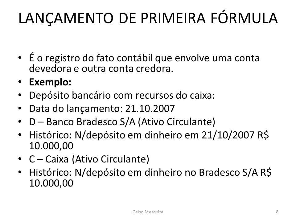 LANÇAMENTO DE PRIMEIRA FÓRMULA