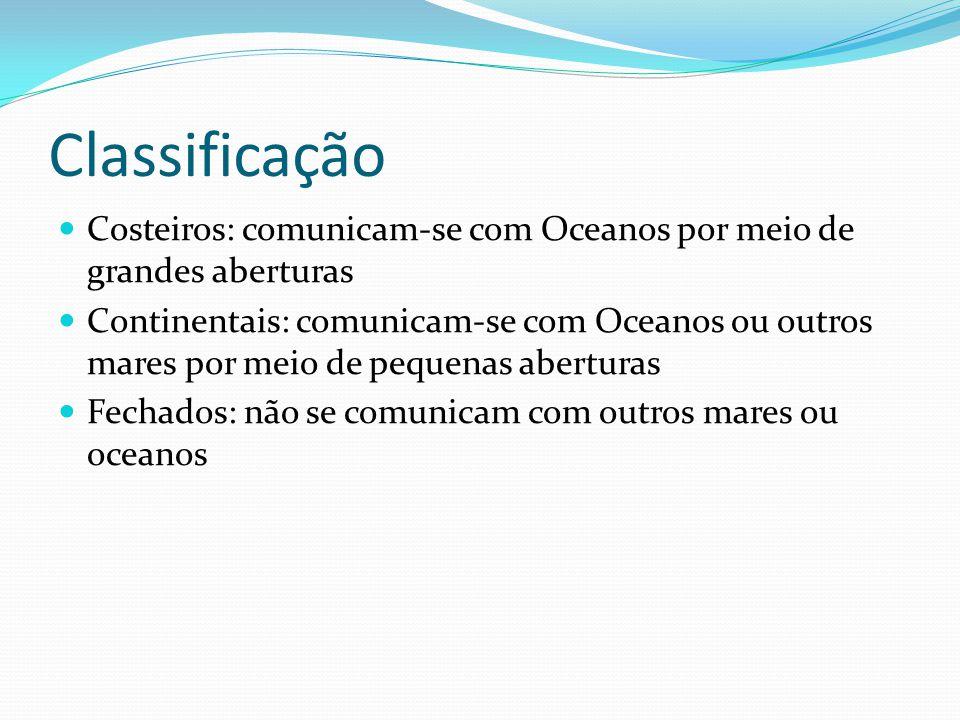 Classificação Costeiros: comunicam-se com Oceanos por meio de grandes aberturas.