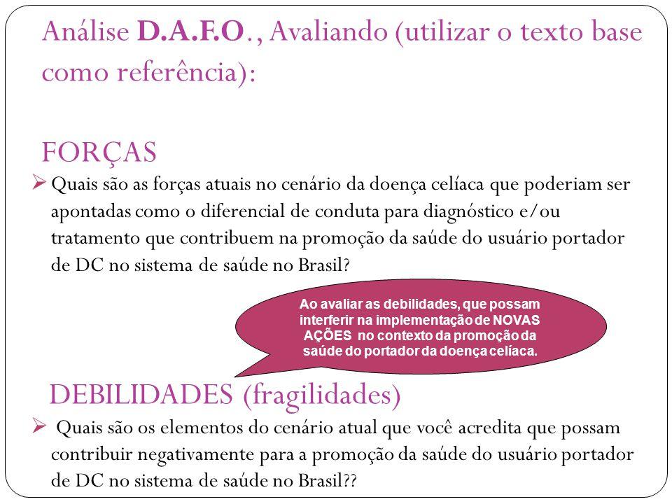 Análise D.A.F.O., Avaliando (utilizar o texto base como referência): FORÇAS DEBILIDADES (fragilidades)