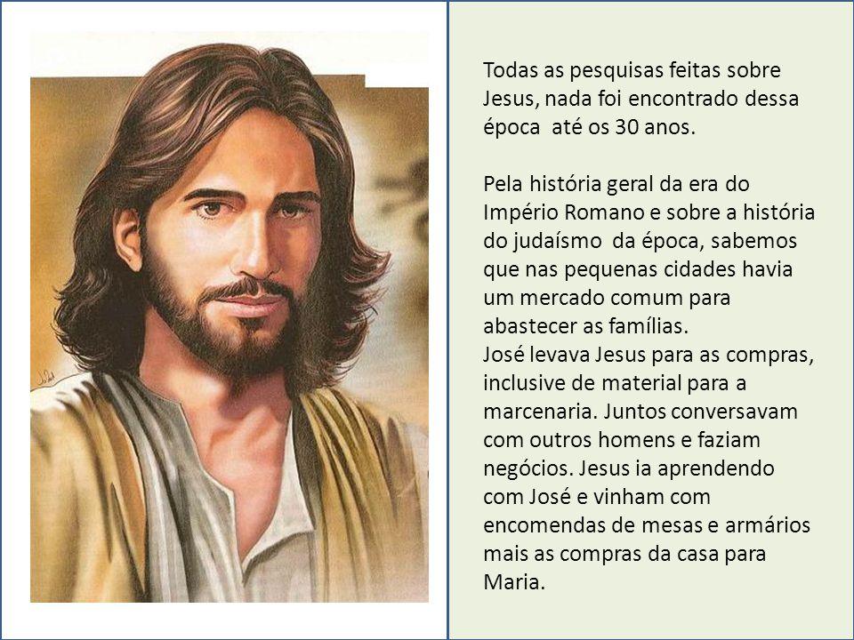 Todas as pesquisas feitas sobre Jesus, nada foi encontrado dessa época até os 30 anos.