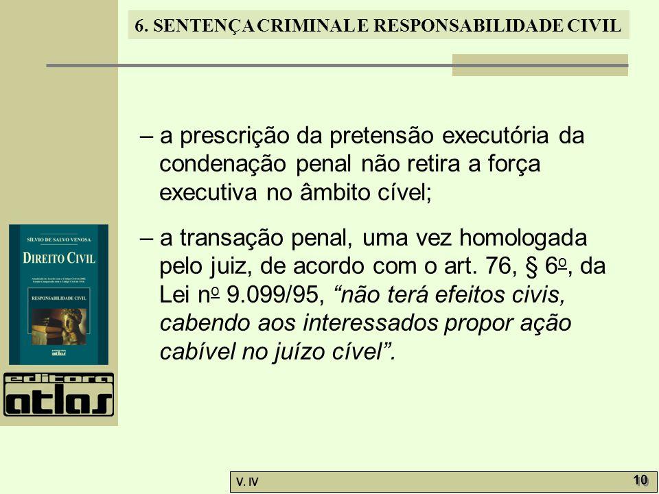 – a prescrição da pretensão executória da condenação penal não retira a força executiva no âmbito cível;