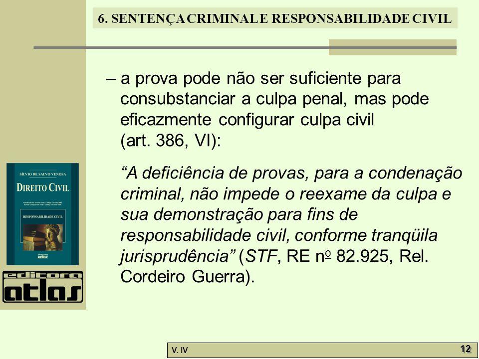 – a prova pode não ser suficiente para consubstanciar a culpa penal, mas pode eficazmente configurar culpa civil