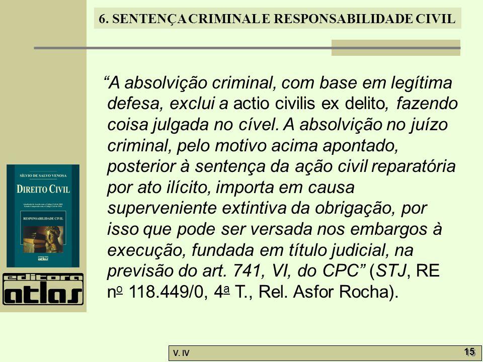 A absolvição criminal, com base em legítima defesa, exclui a actio civilis ex delito, fazendo coisa julgada no cível.