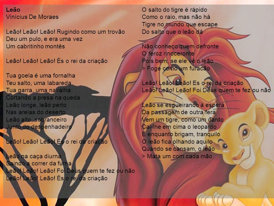 Leão Vinícius De Moraes Leão. Leão. Leão