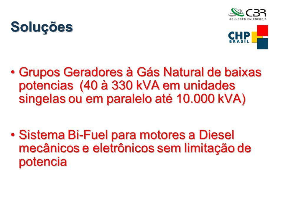 Soluções Grupos Geradores à Gás Natural de baixas potencias (40 à 330 kVA em unidades singelas ou em paralelo até 10.000 kVA)