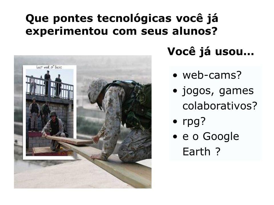 Que pontes tecnológicas você já experimentou com seus alunos