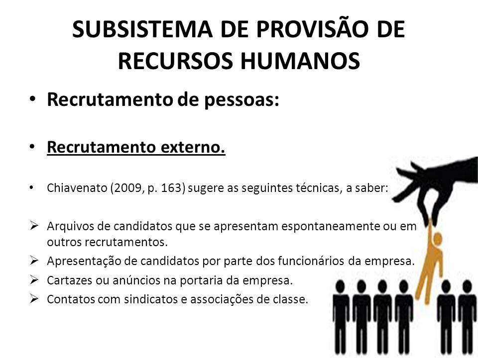 SUBSISTEMA DE PROVISÃO DE RECURSOS HUMANOS