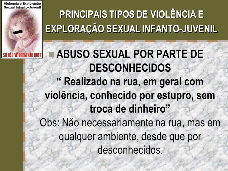 PRINCIPAIS TIPOS DE VIOLÊNCIA E EXPLORAÇÃO SEXUAL INFANTO-JUVENIL