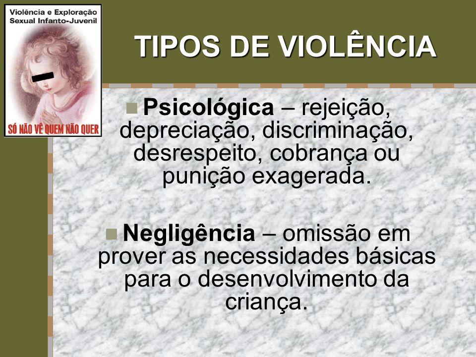 TIPOS DE VIOLÊNCIA Psicológica – rejeição, depreciação, discriminação, desrespeito, cobrança ou punição exagerada.