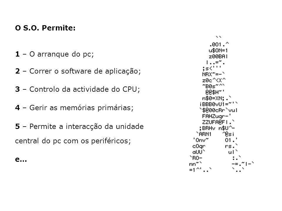 O S.O. Permite: 1 – O arranque do pc; 2 – Correr o software de aplicação; 3 – Controlo da actividade do CPU;