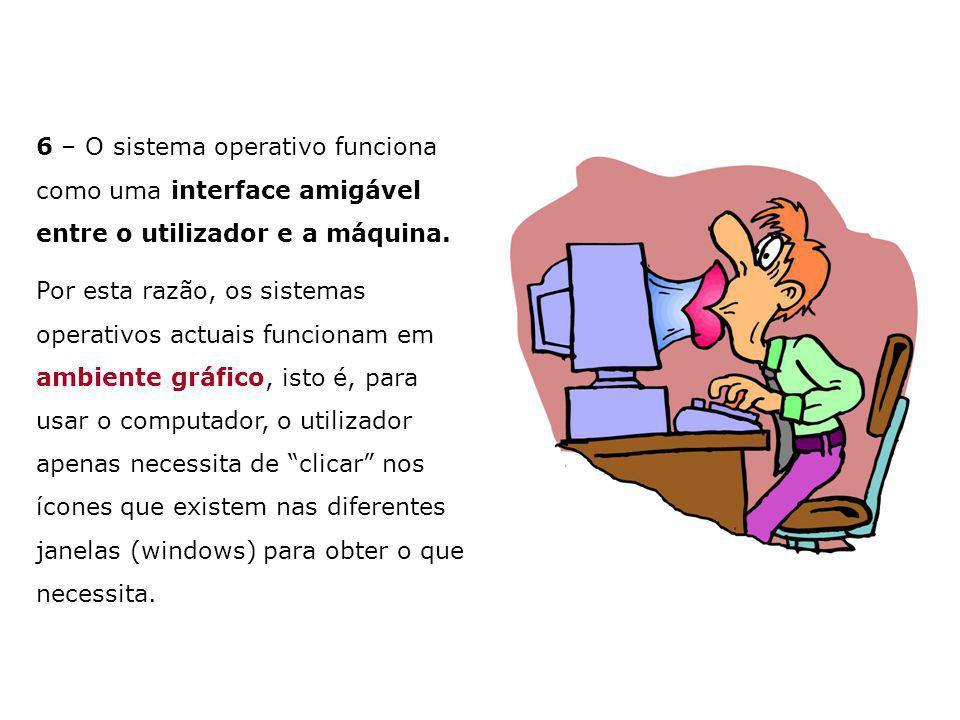 6 – O sistema operativo funciona como uma interface amigável entre o utilizador e a máquina.