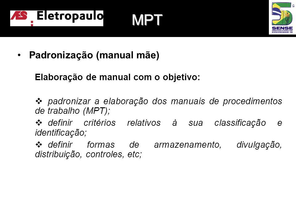 MPT Padronização (manual mãe) Elaboração de manual com o objetivo: