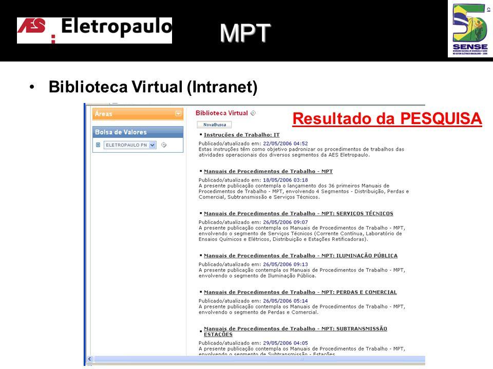 MPT Biblioteca Virtual (Intranet) Resultado da PESQUISA