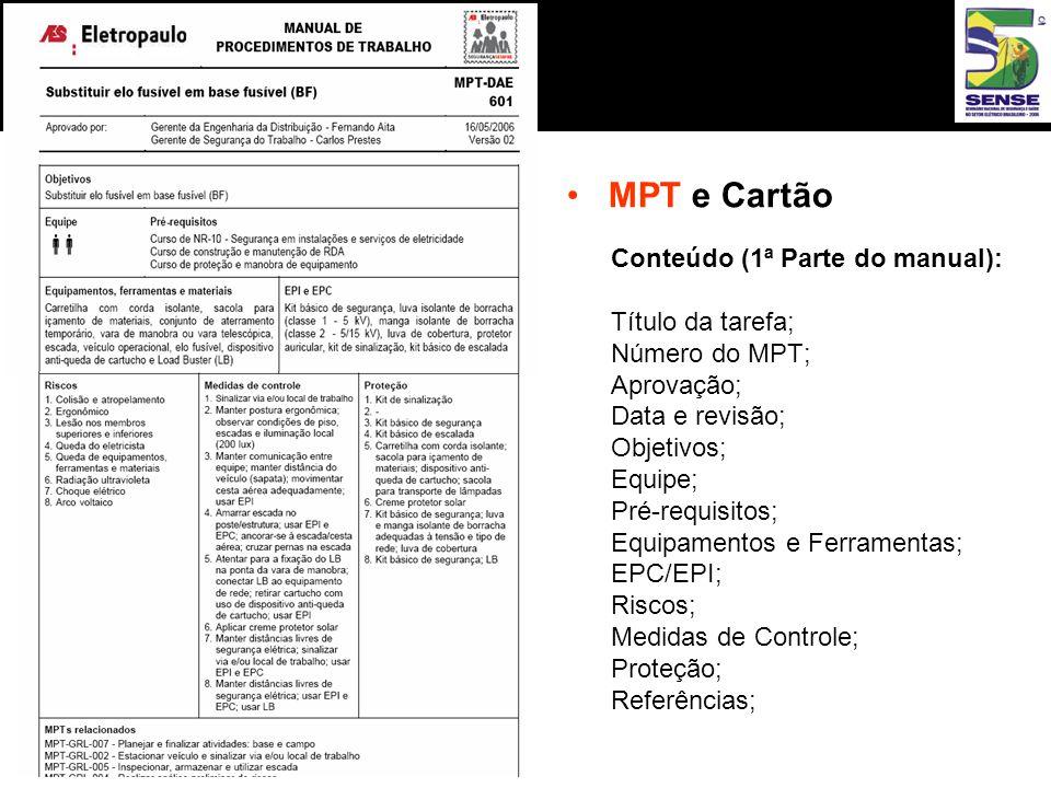 MPT e Cartão Conteúdo (1ª Parte do manual): Título da tarefa;
