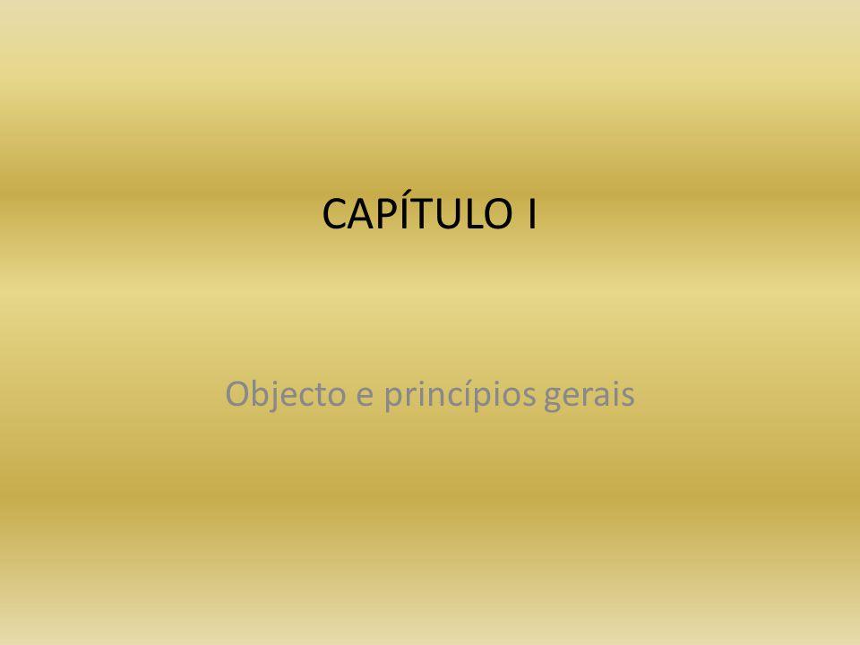 Objecto e princípios gerais