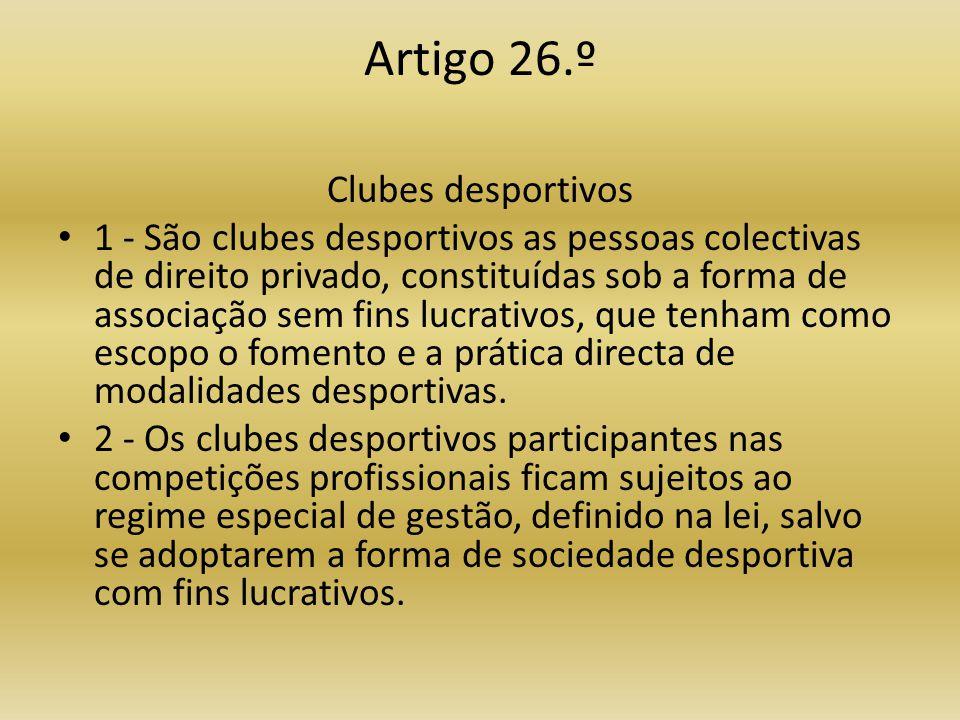 Artigo 26.º Clubes desportivos