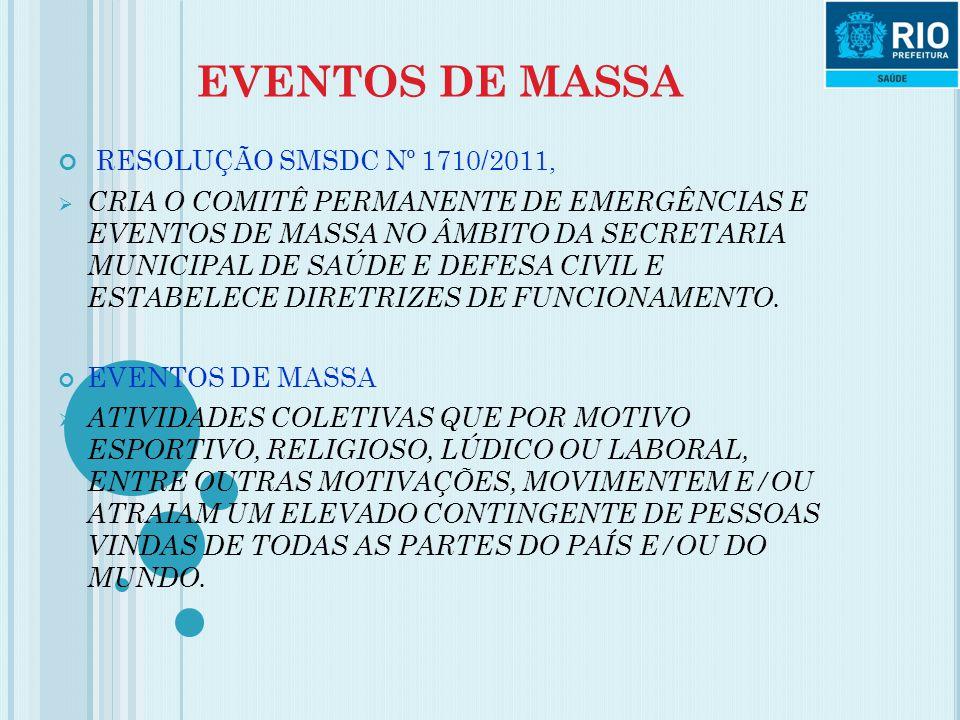 EVENTOS DE MASSA RESOLUÇÃO SMSDC Nº 1710/2011,