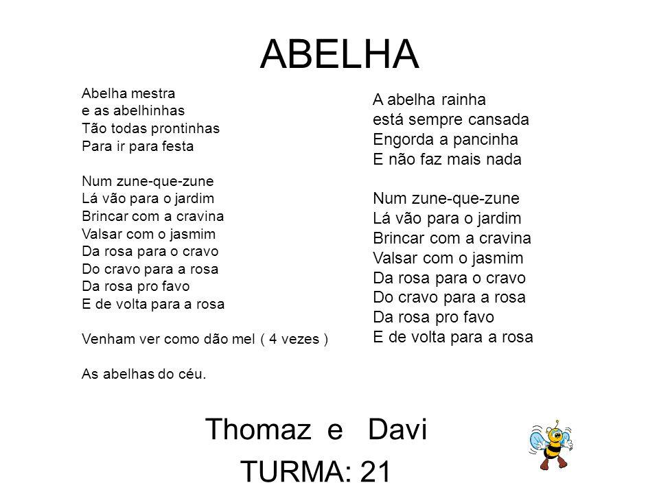 ABELHA Thomaz e Davi TURMA: 21