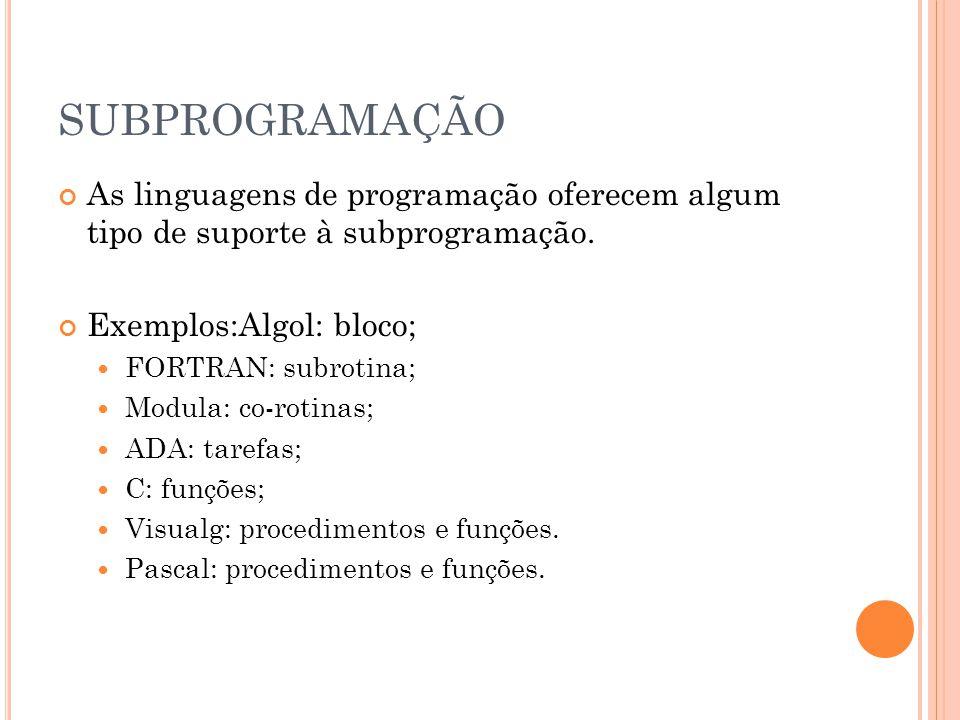Exemplos:Algol: bloco;