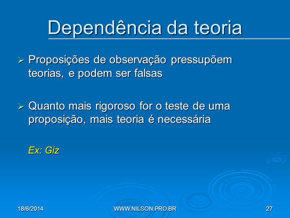 Dependência da teoria Proposições de observação pressupõem teorias, e podem ser falsas.