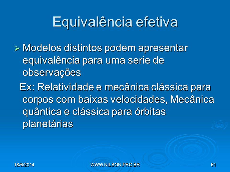 Equivalência efetiva Modelos distintos podem apresentar equivalência para uma serie de observações.