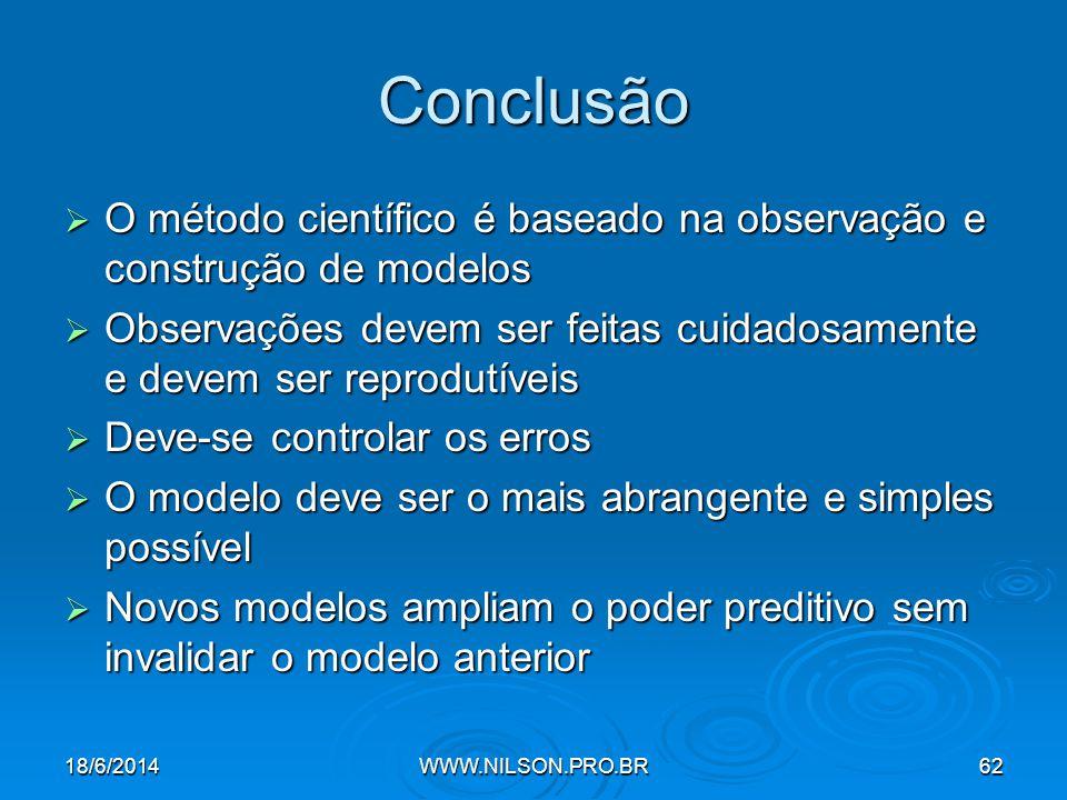 Conclusão O método científico é baseado na observação e construção de modelos. Observações devem ser feitas cuidadosamente e devem ser reprodutíveis.