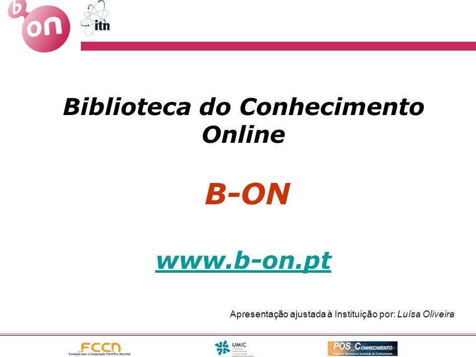 Biblioteca do Conhecimento Online B-ON www.b-on.pt