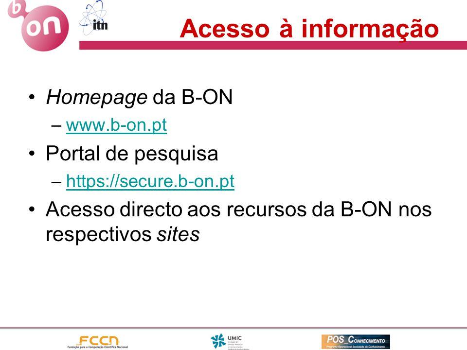 Acesso à informação Homepage da B-ON Portal de pesquisa
