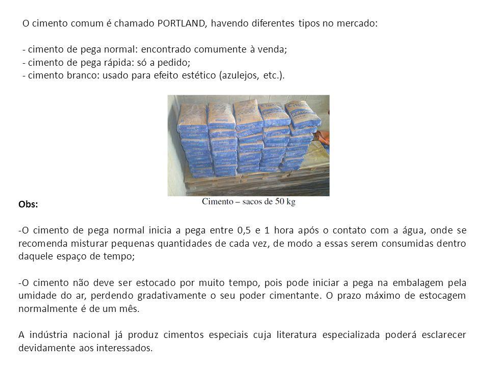 O cimento comum é chamado PORTLAND, havendo diferentes tipos no mercado: