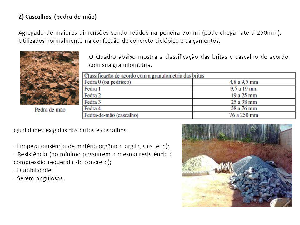2) Cascalhos (pedra-de-mão)