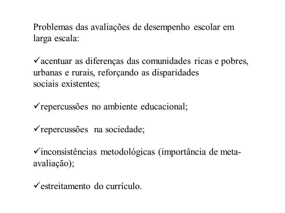 Problemas das avaliações de desempenho escolar em larga escala: