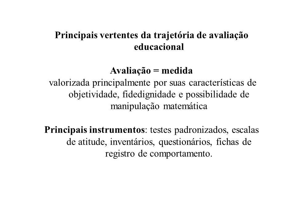 Principais vertentes da trajetória de avaliação educacional
